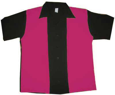 300 Bowl: Electric Retro Bowling Shirt (Black/Dark Pink)